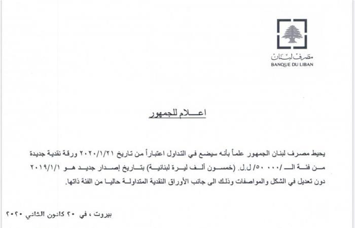 إلى اللبنانيين.. ورقة نقدية جديدة من مصرف لبنان