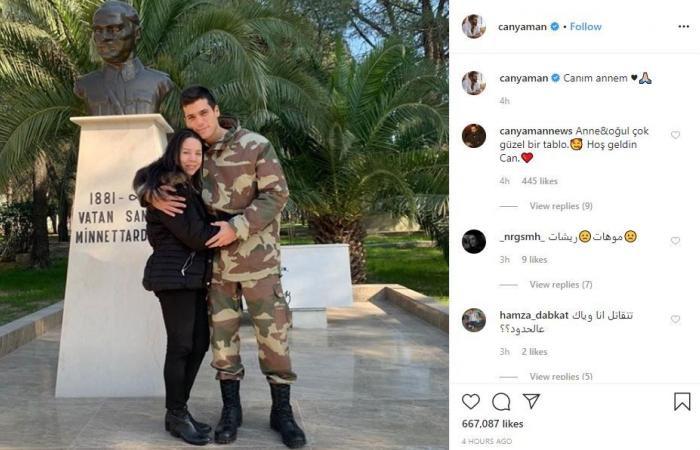 جان يامان العسكري يعانق والدته.. والجمهور مصدوم من شكل الأخيرة!
