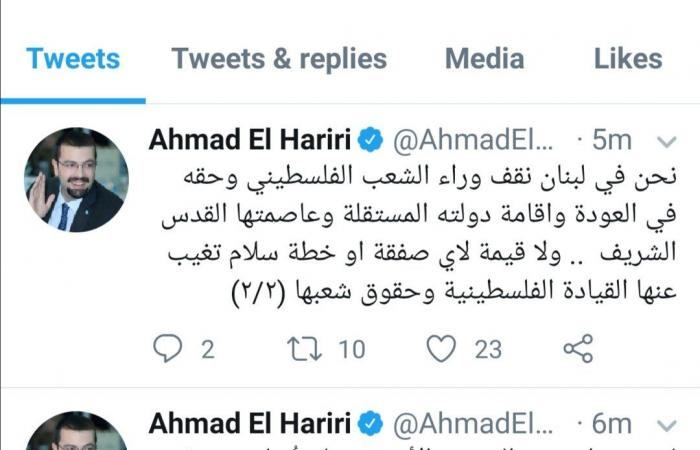 أحمد الحريري: لن تُسلب هوية فلسطين بصفقة غير عادلة