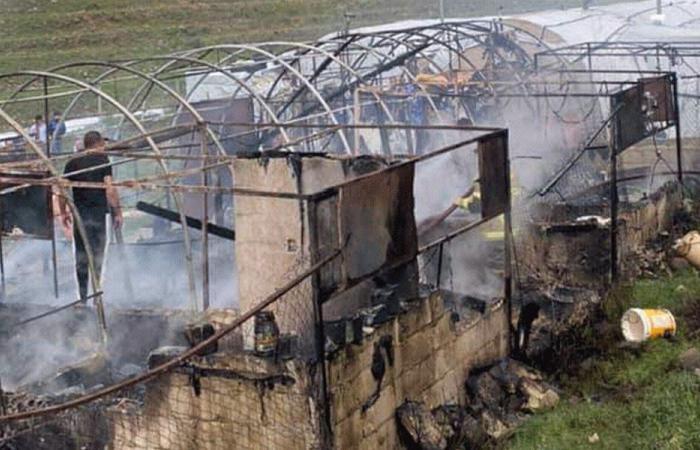 حريق في مخيم للنازحين في بلدة خربة داوود