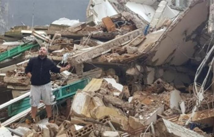 سقوطى مبنى في منطقة المدور (فيديو)
