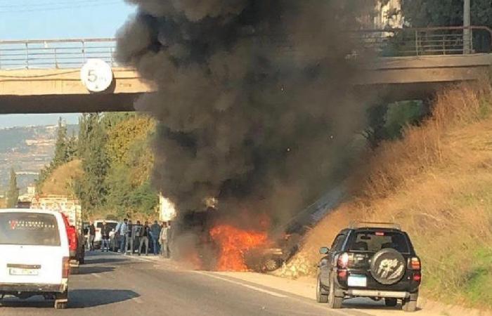 قتيلان في احتراق سيارة على أوتوستراد شكا