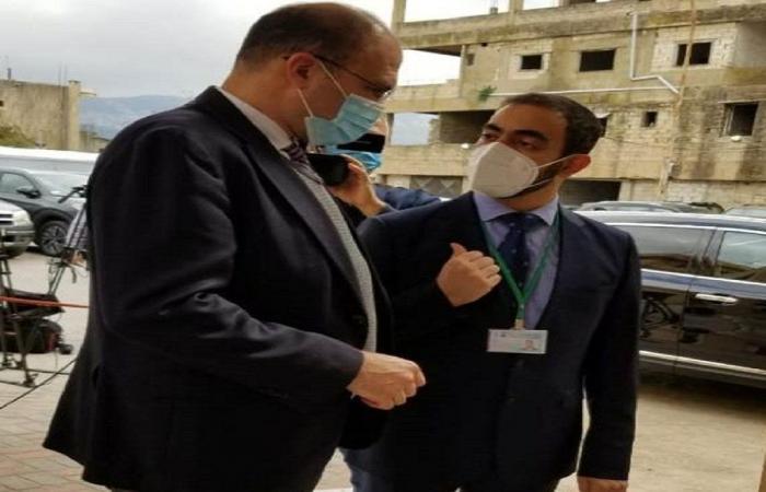 وصول حسن الى مستشفى بعبدا الحكومي لاطلاق حملة التلقيح