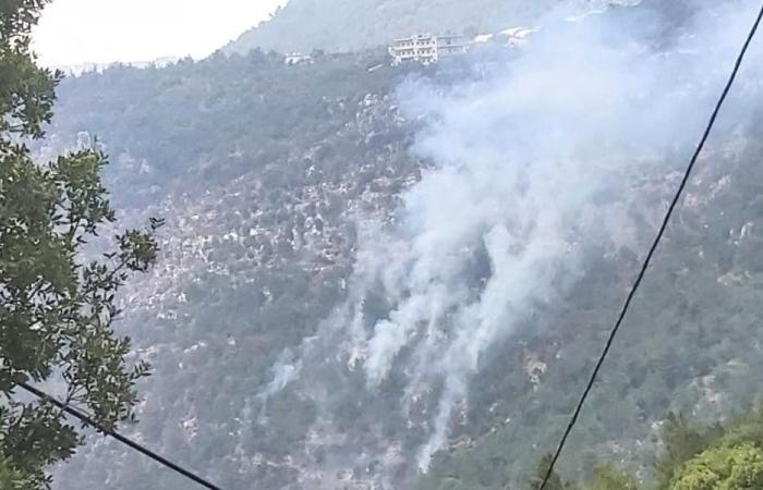طوافة عسكرية تشارك بإهماد النيران في عكار